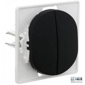 Выключатель двухклавишный Aling-Conel EON E606E1 черный