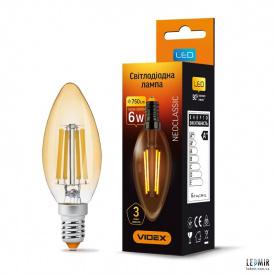 Светодиодная лампа Videx Filament C37 6W-E14-2200K