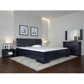 Двуспальная кровать из дерева 160х200 щит Сосны Домино Венге темный
