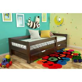 Детская кровать из натурального дерева сосны Альф 80х190 Новое Темный орех