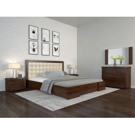 Двуспальная кровать 160х200 из дерева Сосны щит Регина люкс Темный орех