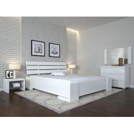 Двуспальная кровать из дерева 160х200 щит Сосны Домино Белый