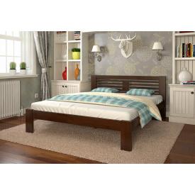Двуспальная кровать из дерева 160х200 щит Сосны Шопен Темный орех