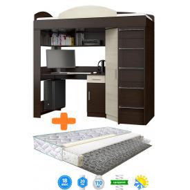Ліжко-горище з ортопедичним матрацом з робочою зоною і шафою