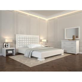 Двуспальная кровать из дерева 160х200 щит Бука Подиум Белый
