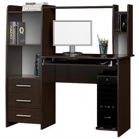Стол компьютерный с надстройкой с полками с ящиками для школьника 125х125х60 см Дуб Сонома Венге тёмный