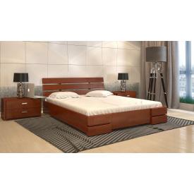 Двуспальная кровать с подъемным механизмом из дерева 160х200 щит Сосны Дали Люкс Яблоня локарно