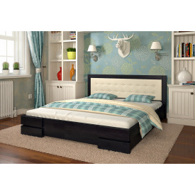Двуспальная кровать из дерева 160х200 щит Сосны Регина Венге темный