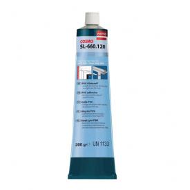 Клей для ПВХ Cosmofen рідкий пластик білий для закладення тріщин швів в ПВХ виробах туба 200 г