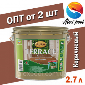 AURA TERRACE 2,7 л коричневая Масло для террас на основе натуральных тунгового и льняного масел пропитка