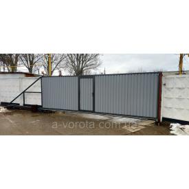 Откатные промышленные ворота с калиткой 6500х2350 мм