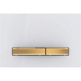 Смывная клавиша Geberit Sigma50 двойной смыв цвет металлический латунь и белый 115.672.11.2