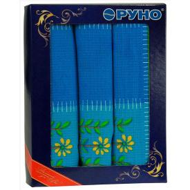 Набор кухонных полотенец Руно в подарочной упаковке Клеточка синяя 45х80 см 3 шт