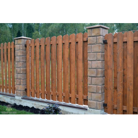 Забор Тип №10 Закругленный штакетник 140х80 мм Дерево Карпаты (35684)