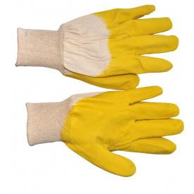 SP-0002W Рукавичка скляра тканинна покрита рифленим латексом на долоні (жовта) (ящик 120 пар)