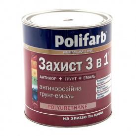 Захист 3 в 1 ПОЛІФАРБ черв.-коричневий RAL8012 0,9кг
