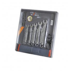 321712 Набор ключей рожково-накидных CRV DIN 3113 12 шт (6-22 мм) брез