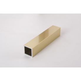 Труба квадратная пустотелая алюминиевая анодированная 20х20 мм золото полированное для мебельных конструкций 5,95 м