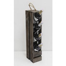 Підставка для вина Холодна ковка Прованс на 4 пляшки коричнева