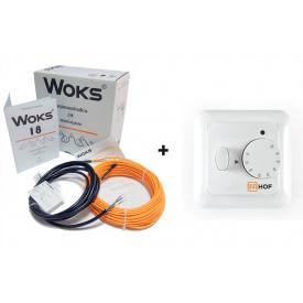 Теплый пол Woks-18 двухжильный кабель 220 Вт (12 м) 1 м2 - 1.5 м2 +терморегулятор HOF 320