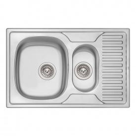 Кухонная мойка с дополнительной чашей Qtap 7850-B 0,8 мм Micro Decor (QT7850BMICDEC08)