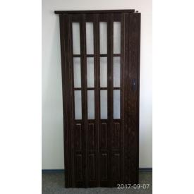 Дверь гармошка полуостекленная 1020х2030х10мм ОРЕХ №7103