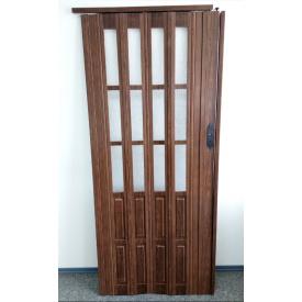 Дверь гармошка полуостекленная 860х2030х10мм. Дуб Темный № 7036