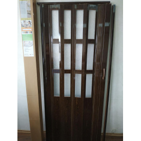 Дверь гармошка полуостекленная 860х2030х10мм Орех №8
