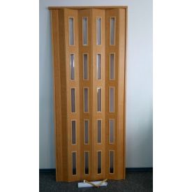 Дверь гармошка остекленная ЭКО 860х2030х6мм. Яблоня №809