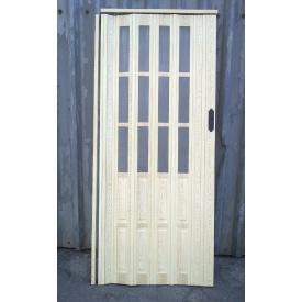 Дверь гармошка полуостекленная 860х2030х10мм.Сосна №7012