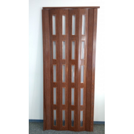 Дверь гармошка остекленная ЭКО 860х2030х6мм. Дуб Классик №715