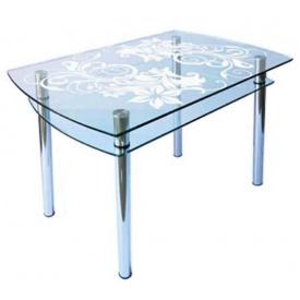 Стол обеденный стеклянный КС-4 пескоструй 10 мм