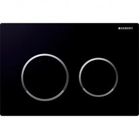 Смывная клавиша Geberit Omega20 двойной смыв цвет черный и глянцевый хром 115.085.KM.1