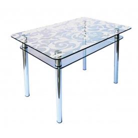 Стол обеденный прямоугольный с закругленными углами КС-1 стекло 10 мм пескоструй