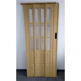 Дверь гармошка полуостекленная 860х2030х10мм.Дуб светлый №269