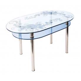Стол обеденный стеклянный КС - 6 стекло 10 мм пескоструй