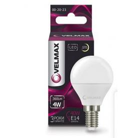 LED лампа VELMAX V-G45 4W E14 3000K 360Lm угол 220°