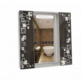 Шкаф-зеркало с LED подсветкой 80x80x14см ШК816