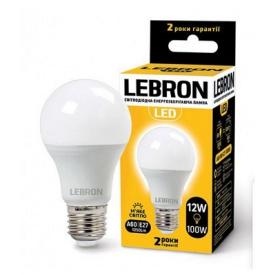 LED лампа Lebron L-A60 12W Е27 3000K 1050Lm кут 240°