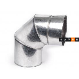 Колено для дымохода с нержавеющей стали термоизоляционное двустенное 90°, 400/460, 0.5 мм, AISI 304