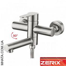 Смеситель для ванны короткий нос ZERIX LR73103 Euro нержавейка