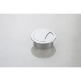 Заглушка під дроти Poliplast кругла d-74/60 в кольорі алюміній (пропуск для кабелю)