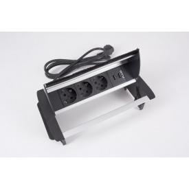 Настольный удлинитель GTV на 3 вилки и 2 USB с пропуском под кабель алюминий