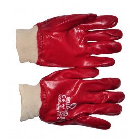 SP-0006 W Рукавичка маслостійке х / б трикотаж покрита PVC c в'язаним манжетом (червона) (ящик 120 пар)
