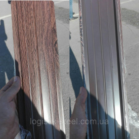 Штакетник двухсторонний металлический Темное дерево