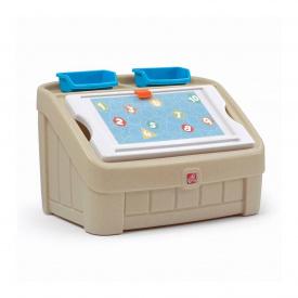 Комод для игрушек и поверхность для творчества 2 в 1 BOX & ART 48х78х48 см пастельный