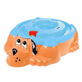 Песочница-бассейн Собачка PalPlay оранжевая с голубой крышкой