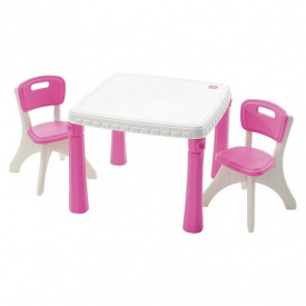 Набор KITCHEN TABLE & CHAIRS из стола 50x35x35 см и 2 стульев 48x64x64 см розовый