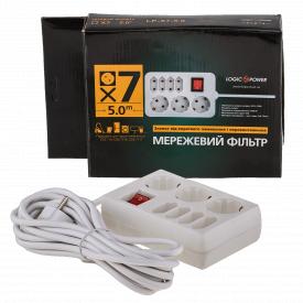 Фільтр-подовжувач мережевий LogicPower LP-X7 7 розеток 5 м з заземленням