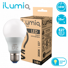 Светодиодная лампа ilumia 002 L-15-A65-E27-WW 1500Лм 15Вт 3000К